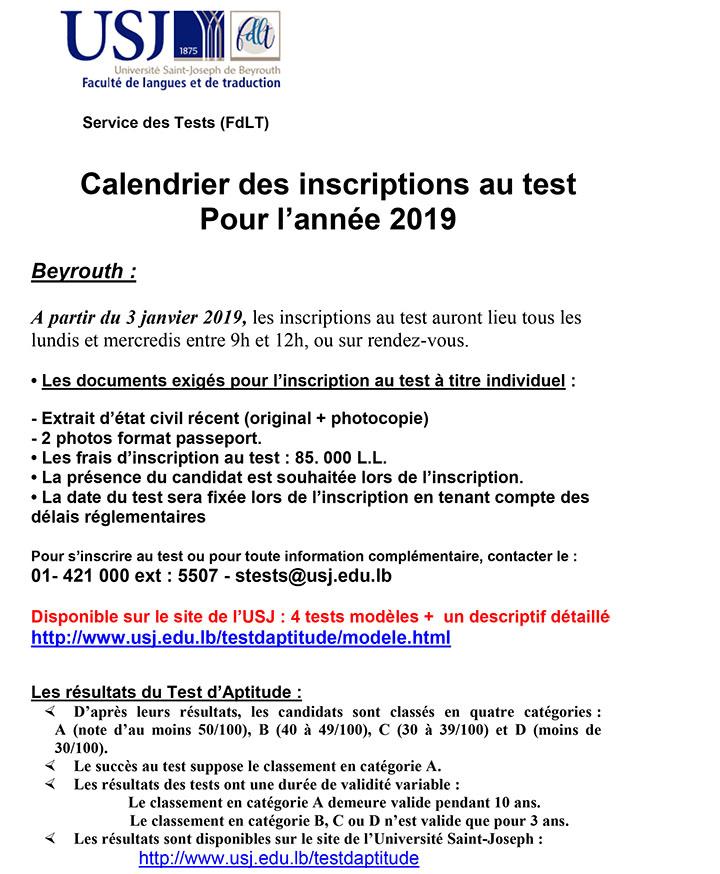 Calendrier Traduction.Test D Aptitude En Langue Francaise