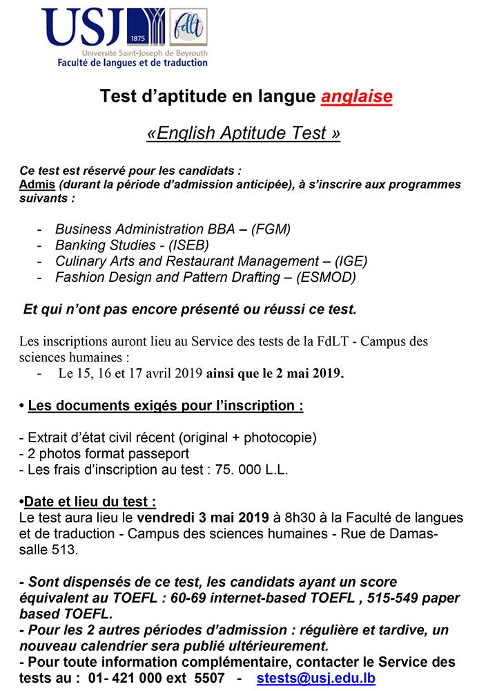 Calendrier Traduction.Test D Aptitude En Langue Anglaise