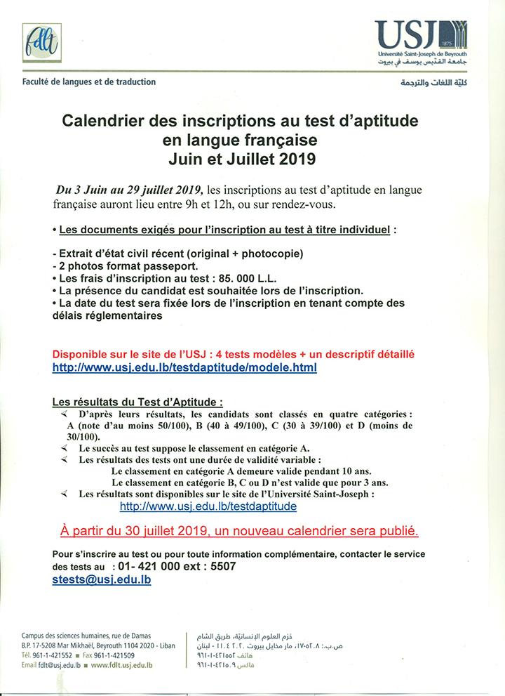 Calendrier Traduction.Calendrier Des Inscriptions Au Test D Aptitude En Langue