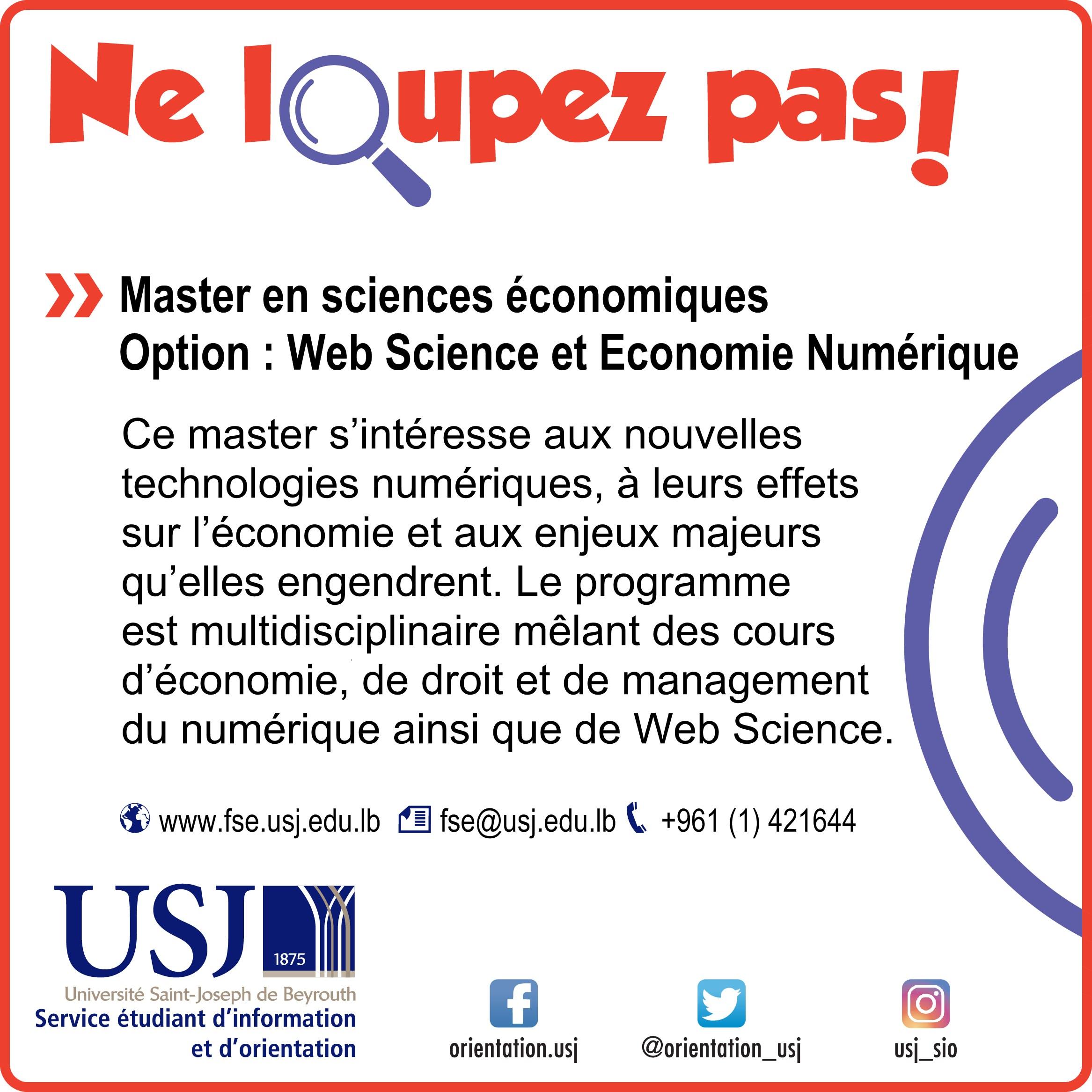 Master en sciences économiques – Option : Web Science et Economie Numérique