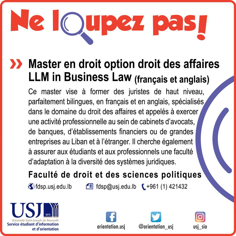 Master en droit option droit des affaires LLM in Business Law