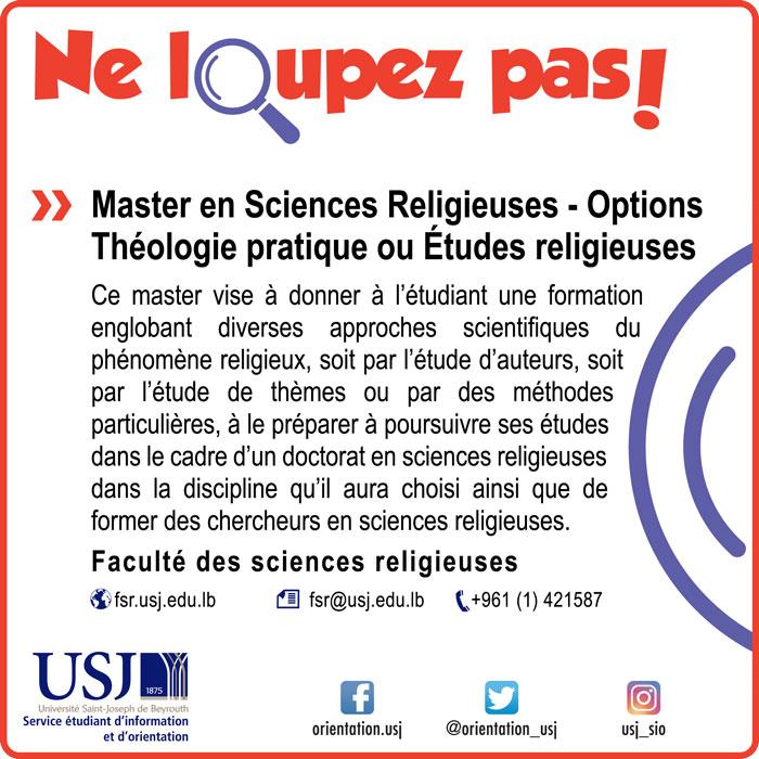 Master en Sciences Religieuses - Options Théologie pratique ou Études religieuses