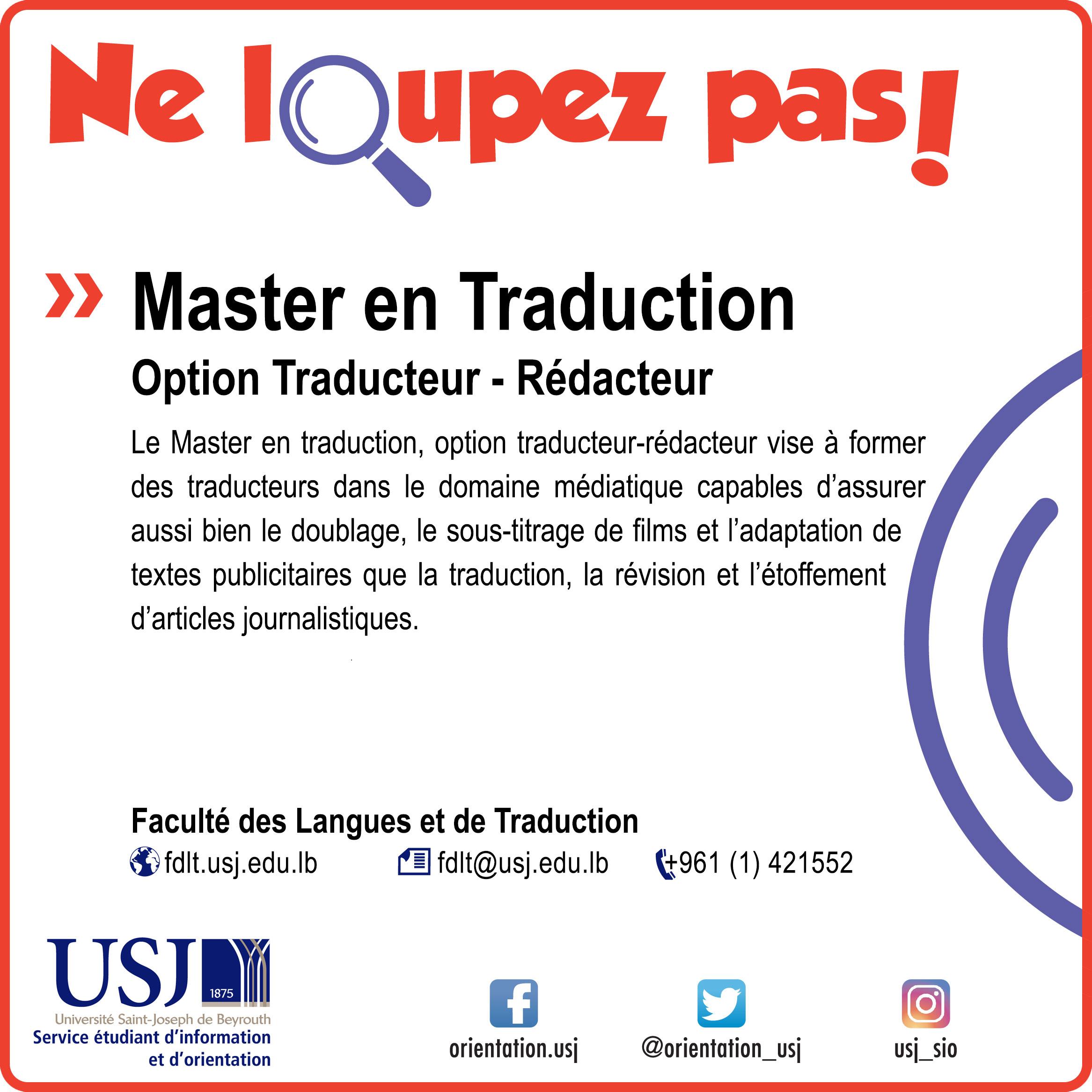 Master en Traduction-Option Traducteur-Rédacteur