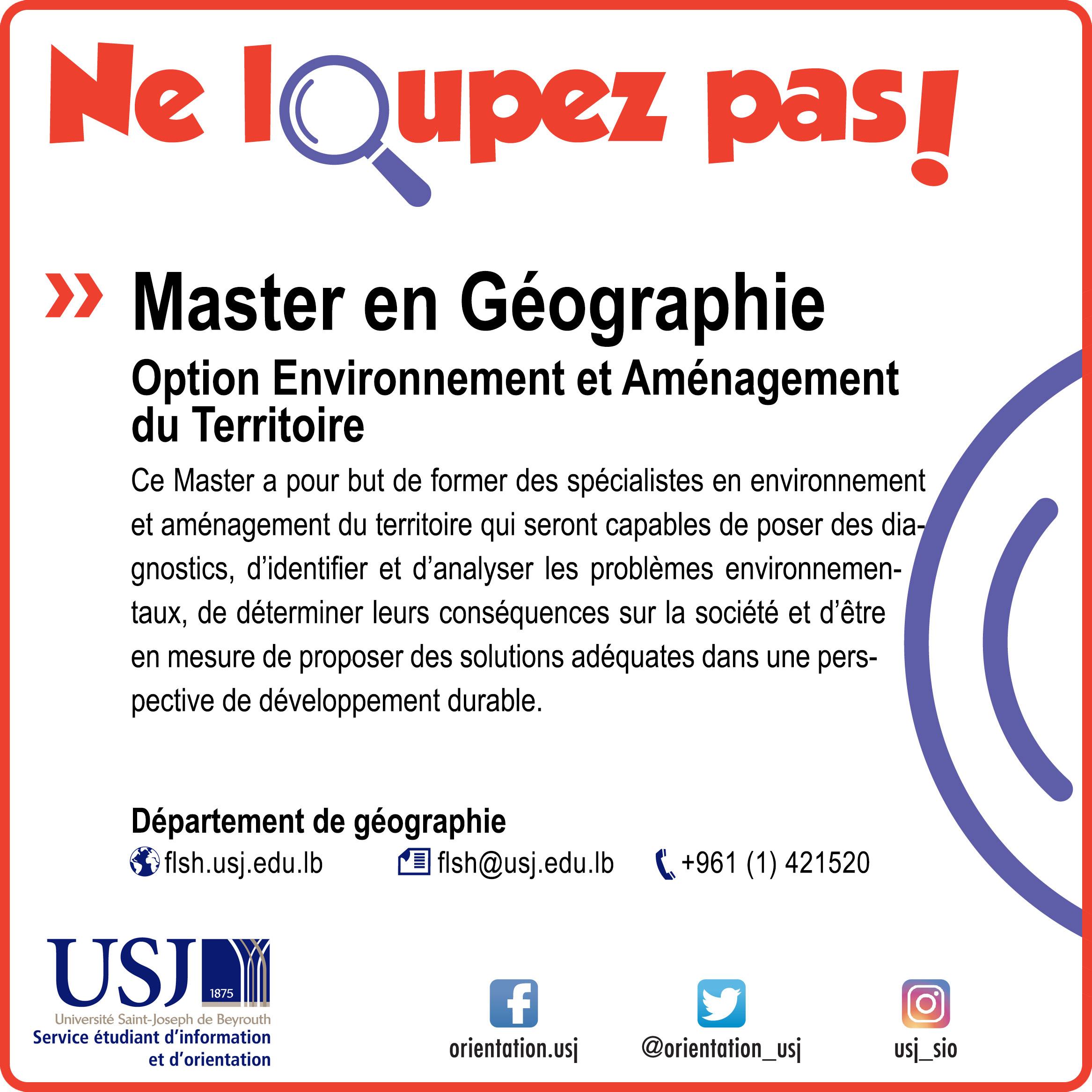 Master en Géographie- Option Environnement et Aménagement du Territoire