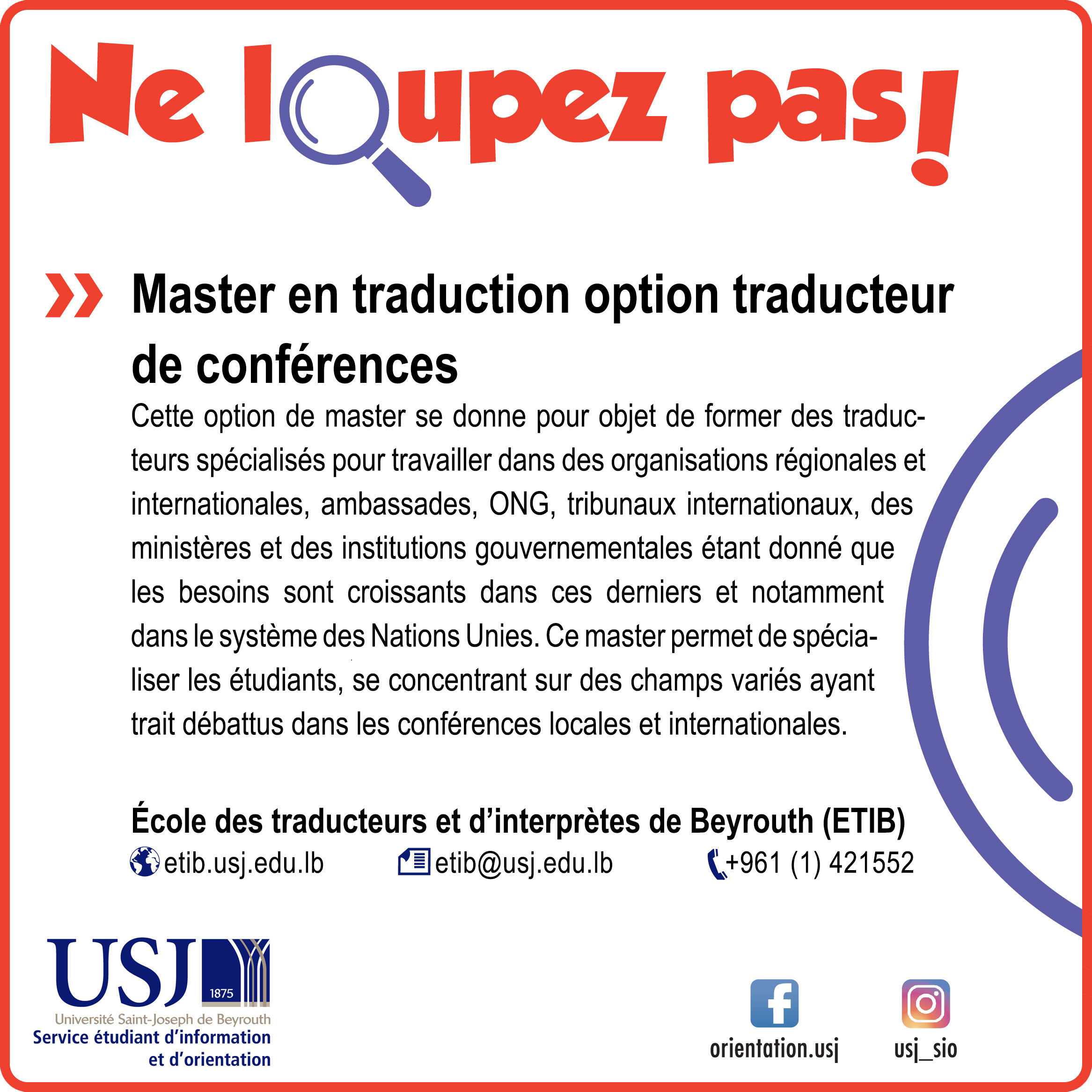 Master en traduction option conférences