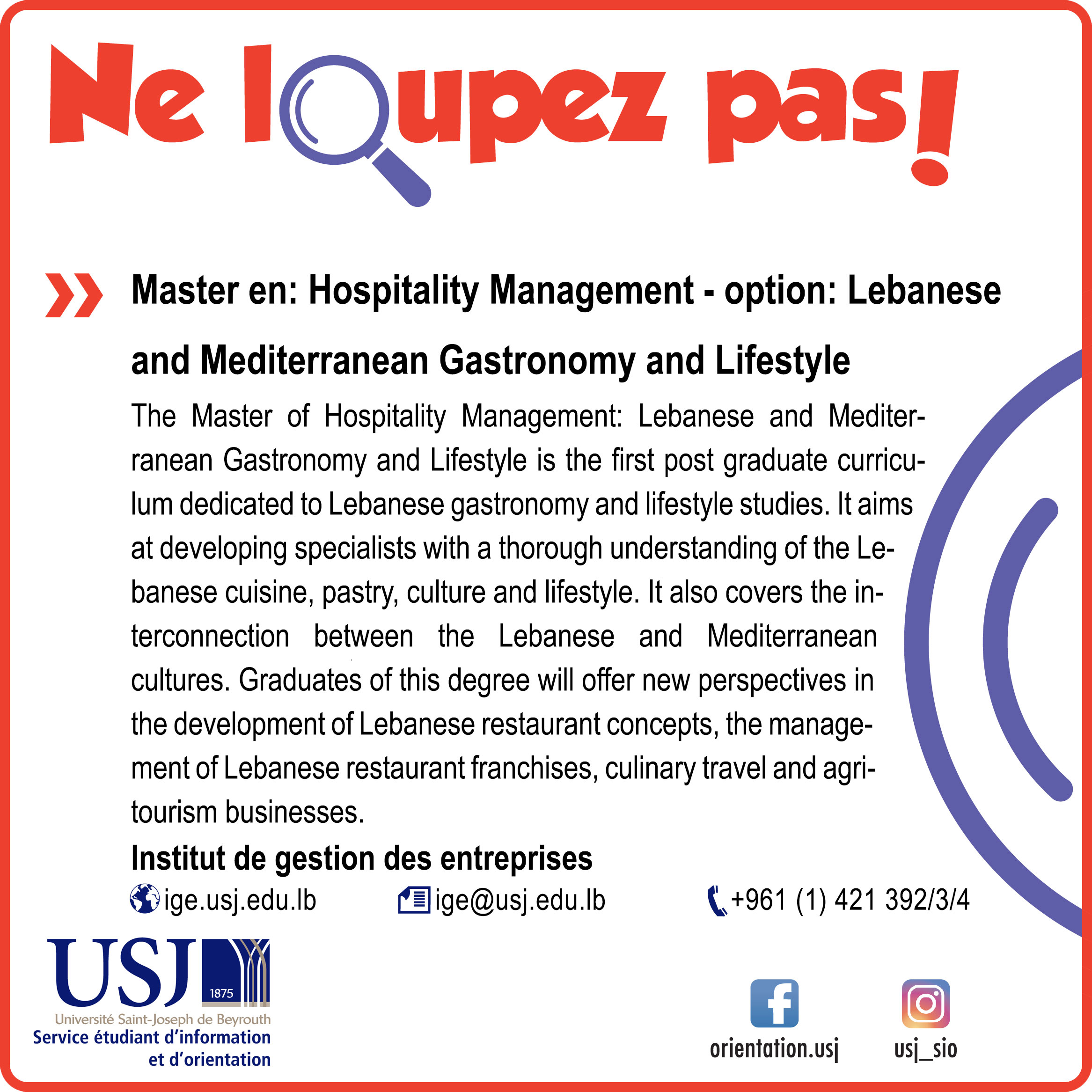 Master en: Hospitality Management - option: Lebanese and Mediterranean Gastronomy and Lifestyle