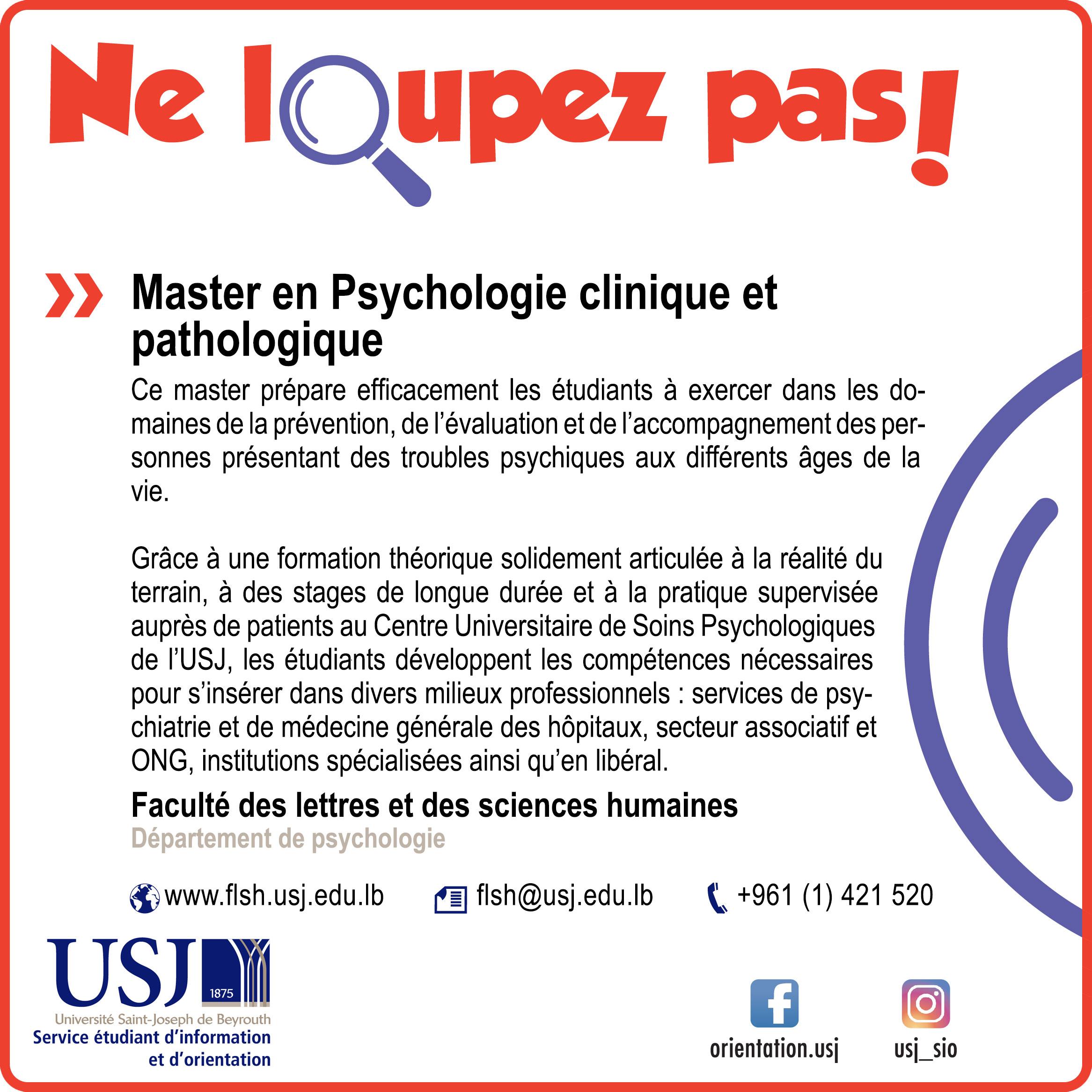 Master en Psychologie clinique et pathologique