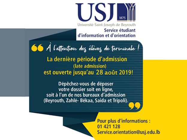 Un rappel pour la dernière période d'admission à l'USJ (Late Admission) pour l'année académique 19/20