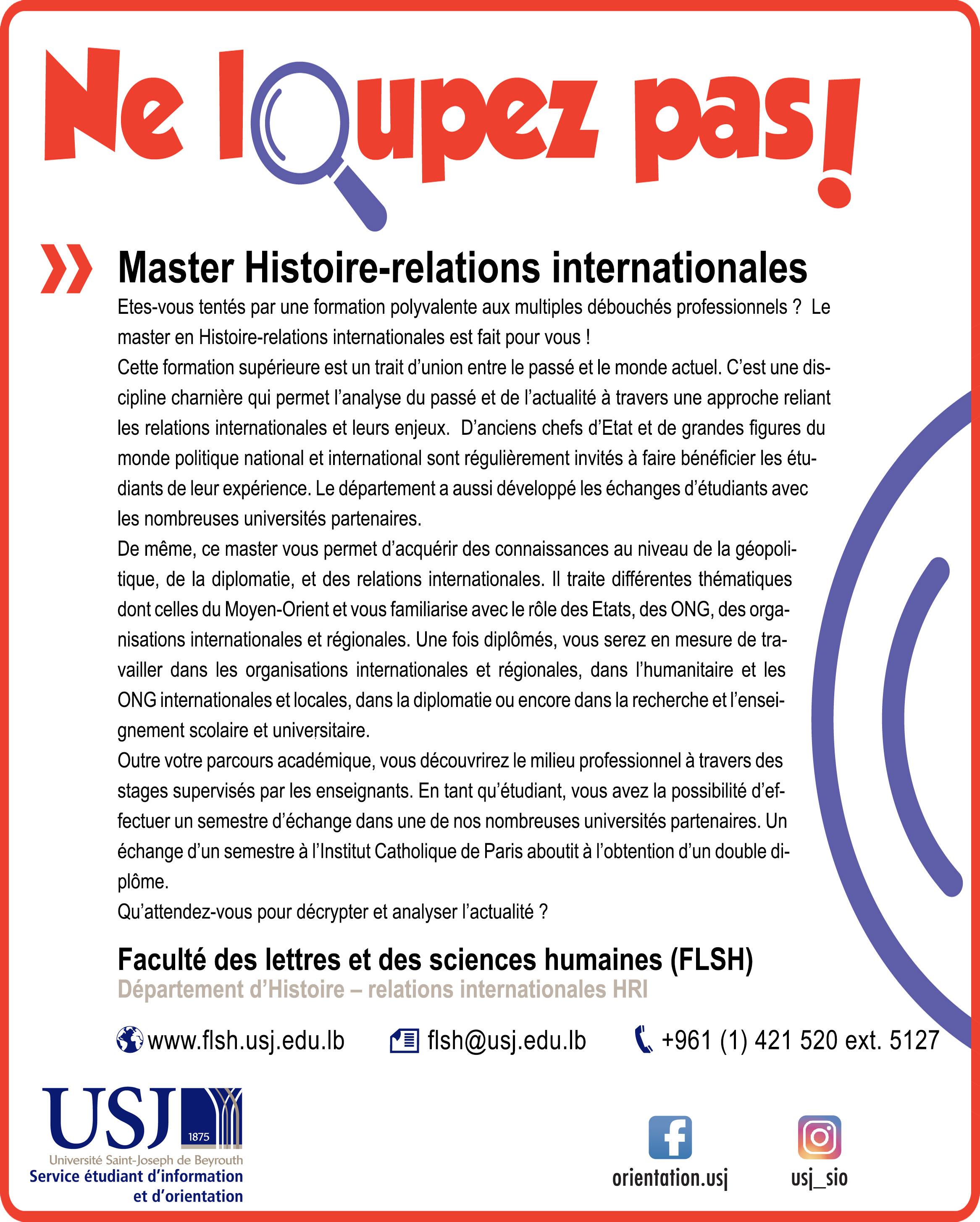 Master Histoire-relations internationales