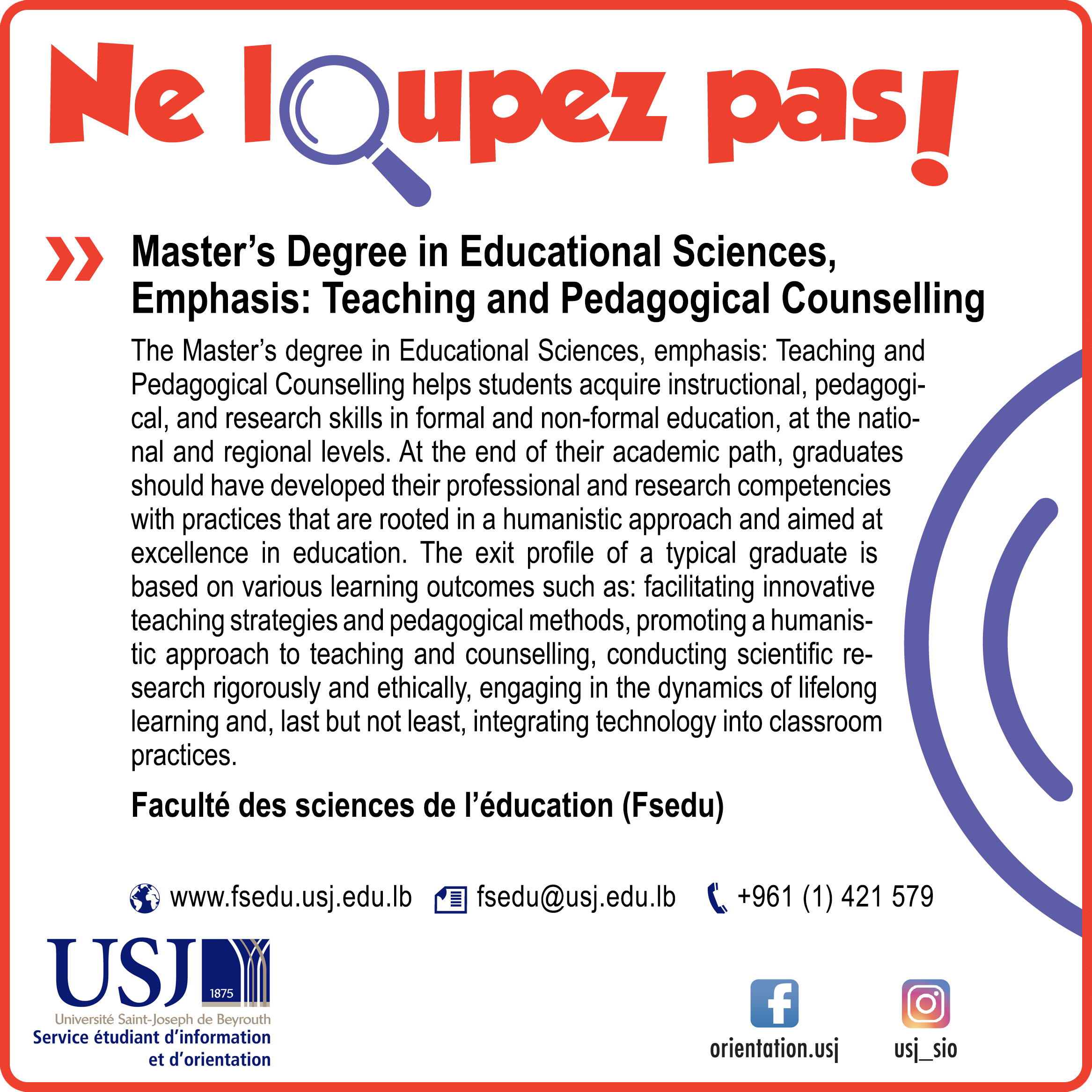 Master's Degree in Educational Sciences, Emphasis: Teaching and Pedagogical Counselling