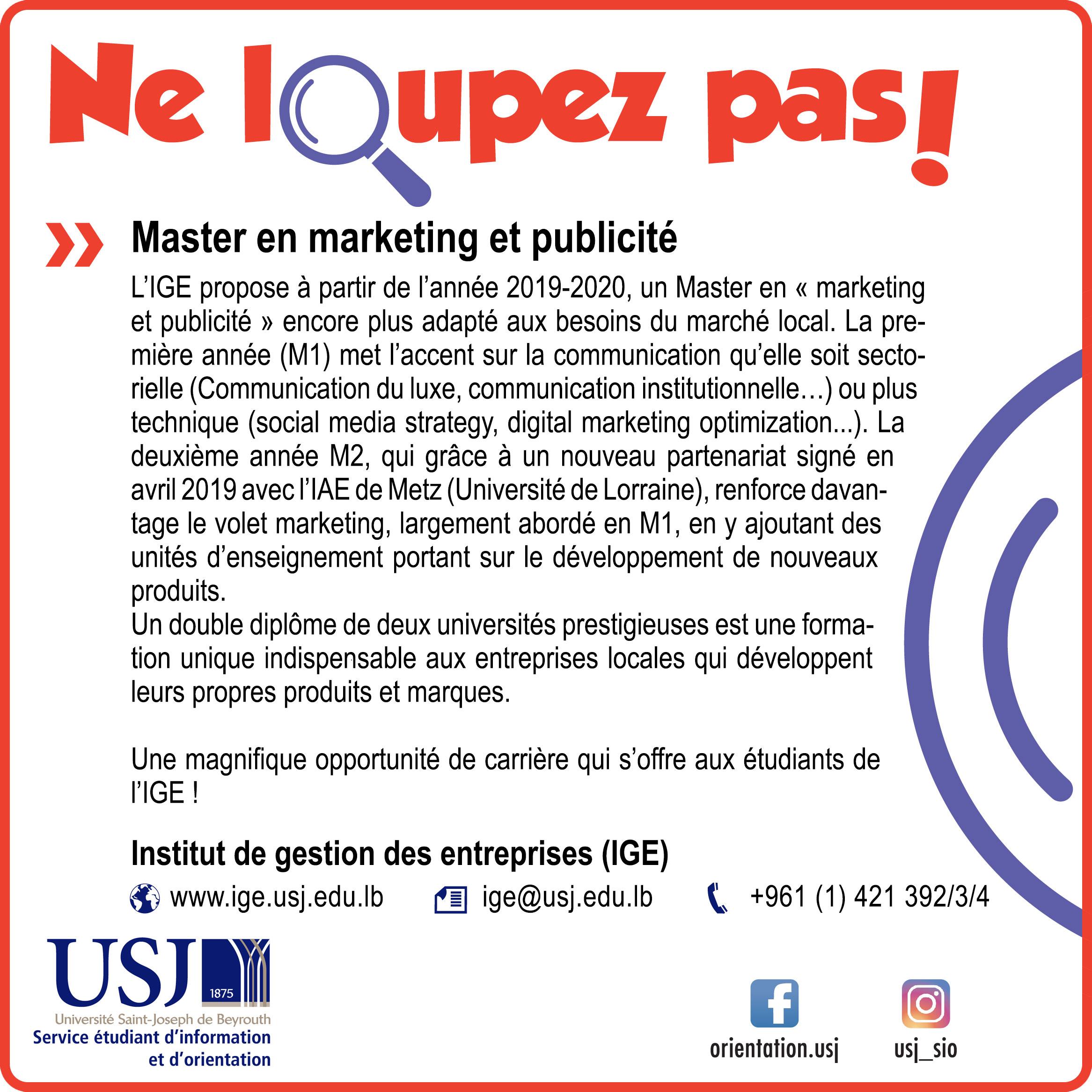 Master en marketing et publicité