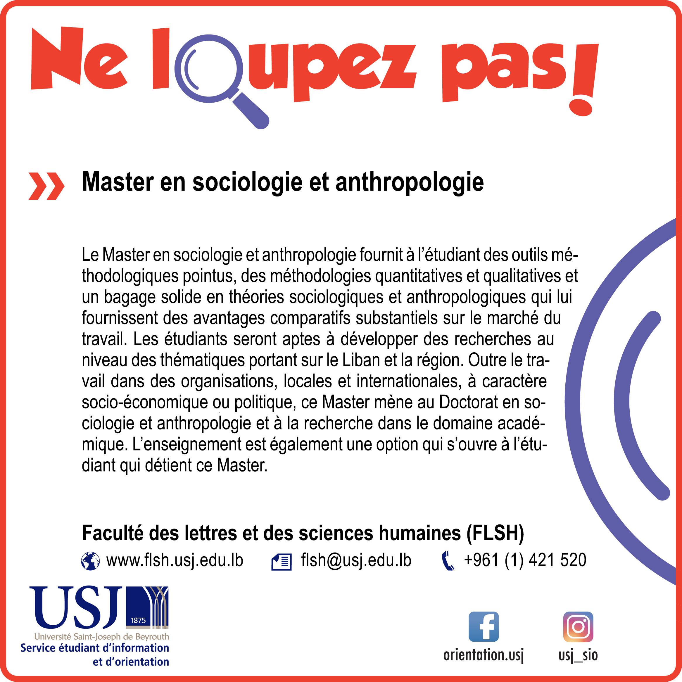 Master en sociologie et anthropologie