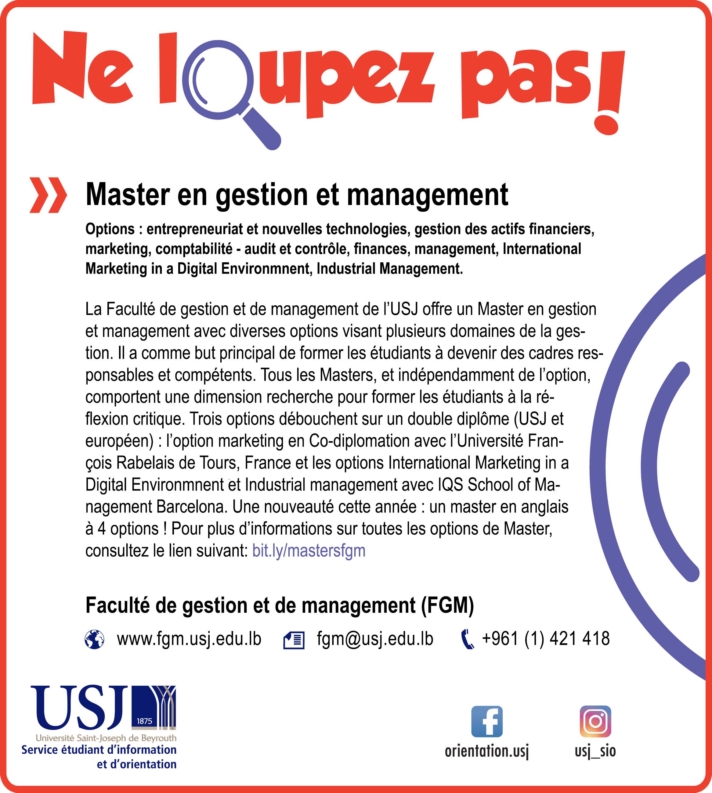 Master en gestion et management