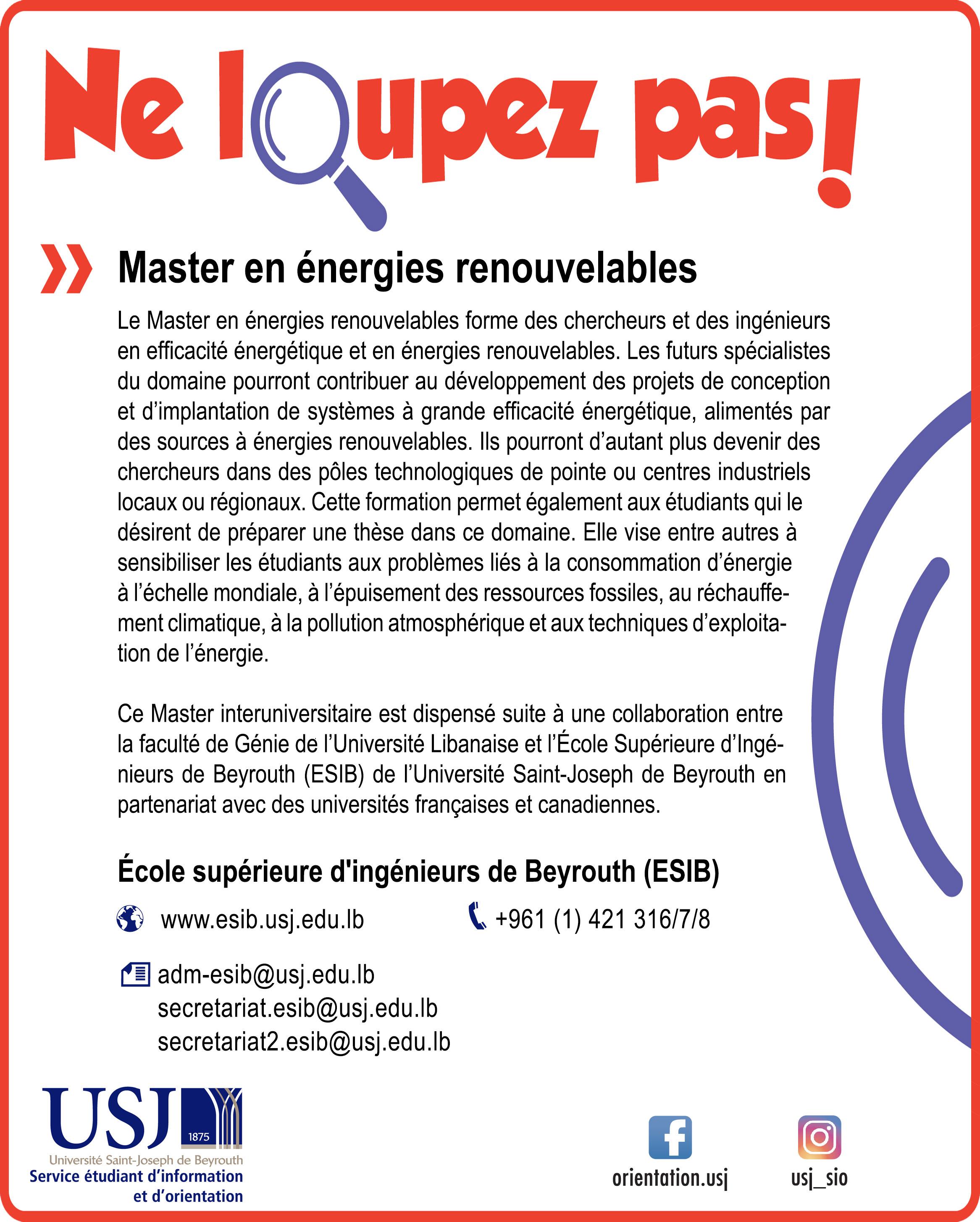Master en énergies renouvelables