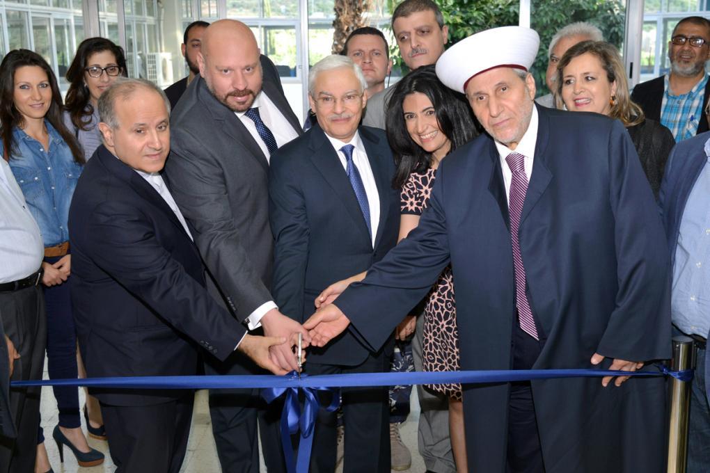 De Gauche à droite:  le Recteur de l'USJ, Le Gouverneur du Nord, Dr Saba Zreik, la directrice du CEULN et le Moufti de Tripoli.