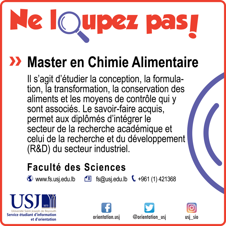 Master en Chimie Alimentaire