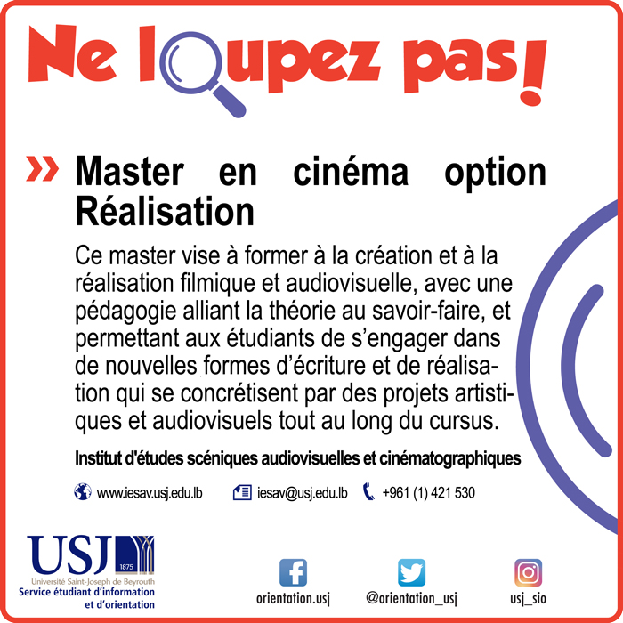 Master en cinéma option Réalisation
