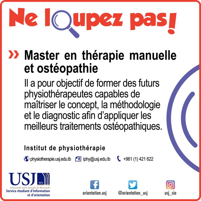 Master en thérapie manuelle et ostéopathie