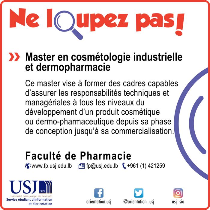 Master en cosmétologie industrielle et dermopharmacie