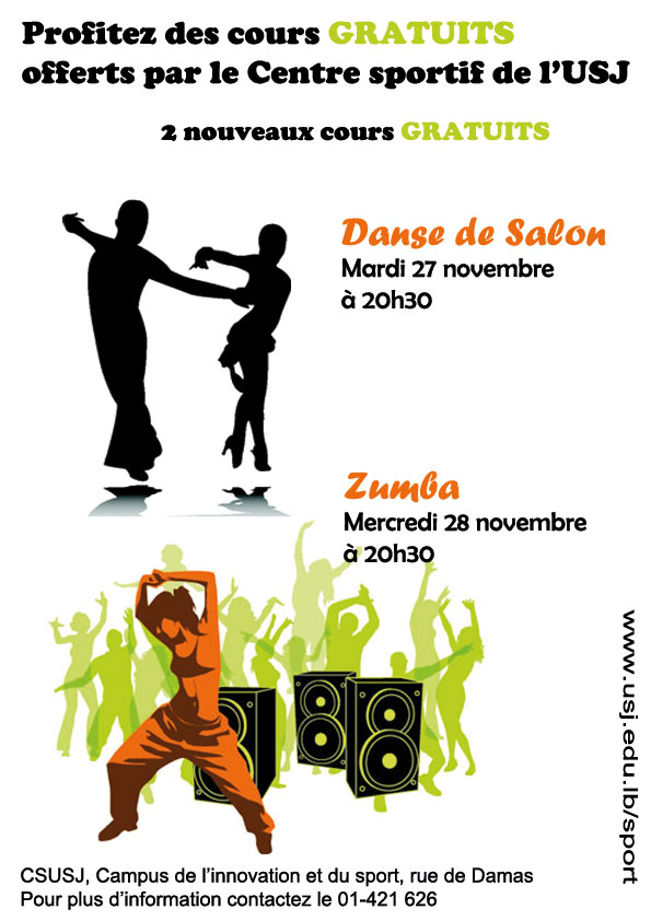 Zumba et danse de salon au csusj for Cours de danse de salon 92